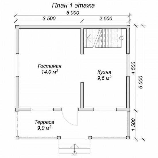 Проект дома из бруса 6x6 м П-21