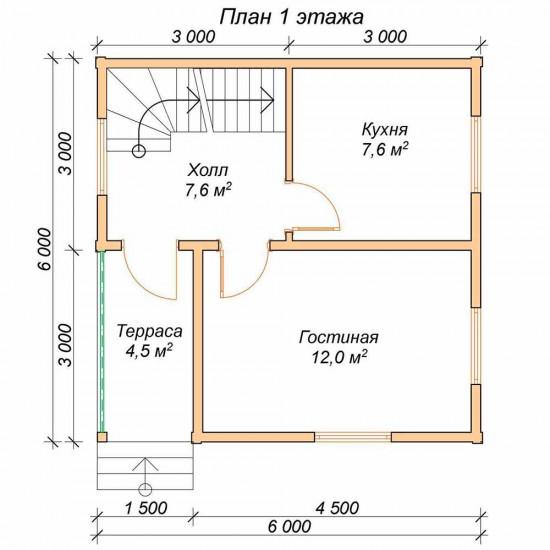 Проект дома из бруса 6x6 м П-23