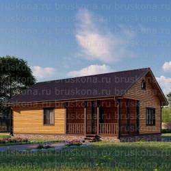 Проект дома из бруса 8x12 м. П-34