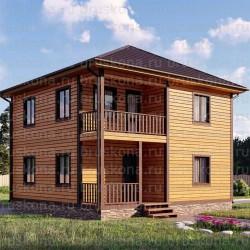 Проект дома из бруса 8x8 м. П-37