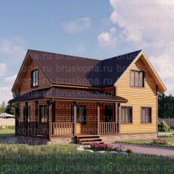 Проект дома из бруса 9x7,5 м. П-39
